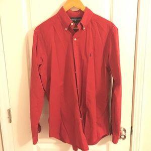 Ralph Lauren Red Collared Button Down Shirt. Sz M